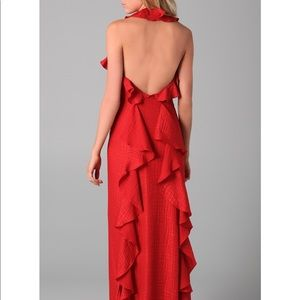 Milly red crocodile embossed print silk gown